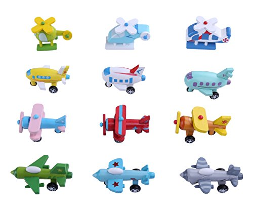 Little Helicopter (Berry President(TM) Set of 12 Wooden Mini Multicolor Airplane Helicopter Fighter Biplane Vehicle Model Educational Toys For Baby Toddler)
