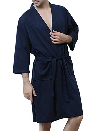 DGGLIFE Men's Robes Lightweight Bathrobes Short Kimono Waffle Weave Knee Length Spa Summer Thin Soft Nightwear Sleepwear Navy Blue ()