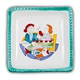 Hand Painted Italian Ceramic Desimone Square Plate - Fisherman - Handmade in Sicily