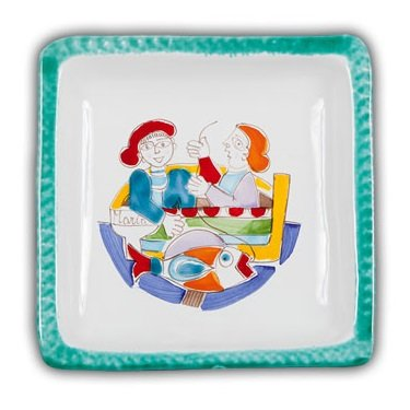 Ceramic Desimone Square Plate - Fisherman - Handmade in Sicily (De Simone Italian Pottery)