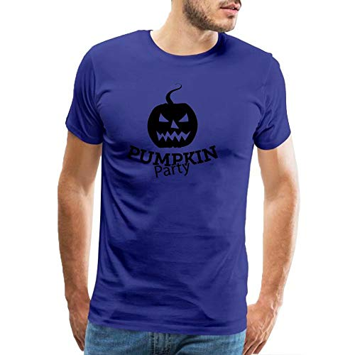 Men's Short Sleeve Cotton Shirts Scary Halloween Pumpkin Graphic Printed Casual Fashion Tops T-Shirt Blue XXXL -