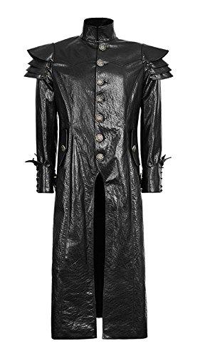 6da3b1f7c991 Lungo cappotto uomo in finta pelle Armatura guerriero gotico punk rave nero  Medium  Amazon.it  Abbigliamento