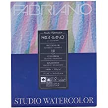 "Fabriano 91230022 Tape Binding Acid-Free Cold Press Studio Watercolor Pad, 12 Sheets, 140 Pound, 9""x12"""