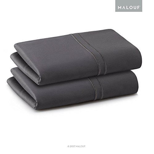 (MALOUF Woven Supima Premium Cotton Pillowcases - 100 Percent American Grown - Extra Long Staple - Sateen Weave - Single Ply - 600 Thread Count - King - Charcoal)