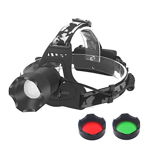 Tactical LED Headlamp Flashlight, Hunting Headlight Zoomable 3 Colors Exchange Red Light Green Light Lens and White Light Headlamp for Camping Hiking Fishing (Best Lens Color For Fishing)