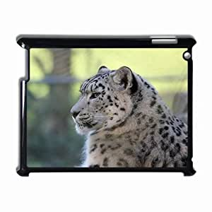Customized Back Cover Case For iPad 2 3 4 Hardshell Case, Black Back Cover Design Snow Leopard Personalized Unique Case For iPad 2