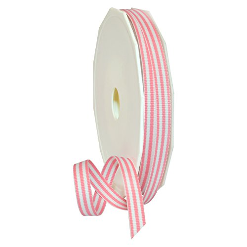 (Morex Ribbon Polyester Grosgrain Striped Decorative Ribbon, 20 Yard, Pink, 3/8)