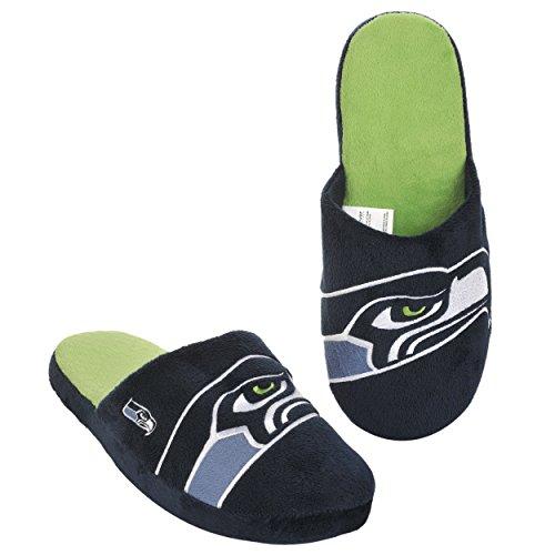 FOCO Seattle Seahawks 2011 Big Logo Men Slipper Tpr Sole Large Hawk Slippers