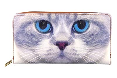 Mlavi blue eye kitty vegan/faux leather large zipper wallet