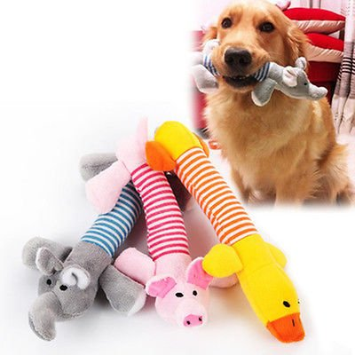 TECH-P Creative Life Pet Puppy Squeaker Squeaky Plush Sound Pig Elephant Duck For Dog Cat Pets Sound Toys-Pack Of (Elephant Plush Dog Toy)