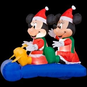 christmas decoration lawn yard inflatable mickey mouse and minnie on a sled 5 tall