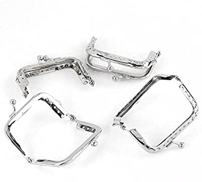 Rockin Beads Brand, 5 Metal Frames Snap Clasp for Small Coin Style Purse Silver Tone 2-1/2 X 1-1/4 Inch 5pcs by China