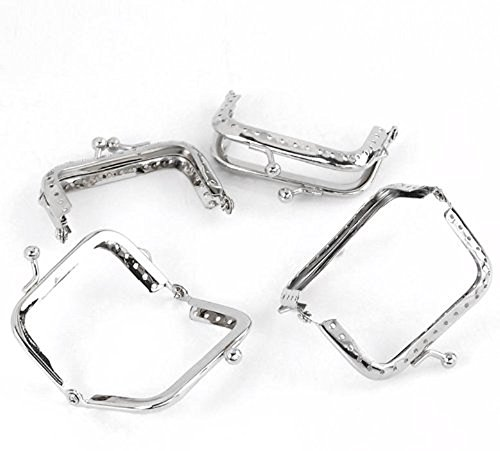 Rockin Beads Brand, 5 Metal Frames Snap Clasp for Small Coin Style Purse Silver Tone 2-1/2 X 1-1/4 Inch 5pcs Purse Frame