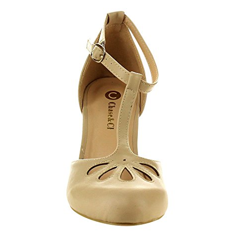 Chase & Chloe Kimmy-36 Dames Tricot Uitgesneden T-band Halfhoge Jurk Pumps Nude