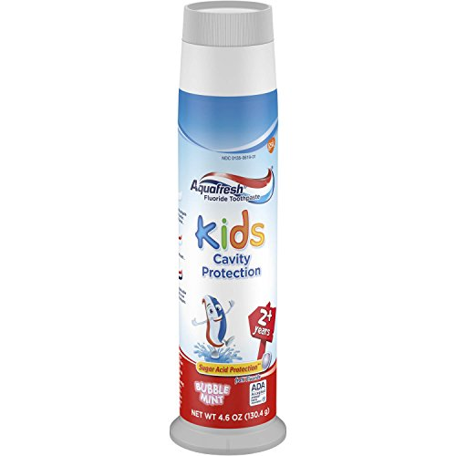 Kids Cavity Protection - Aquafresh Kids Pump Cavity Protection Bubble Mint Fluoride Toothpaste for Cavity Protection, 4.6 ounce