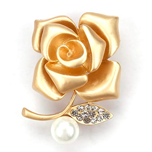 Brand Factory Direct Sale Golden Rose Flower Brooch Pins for Women or Lovers