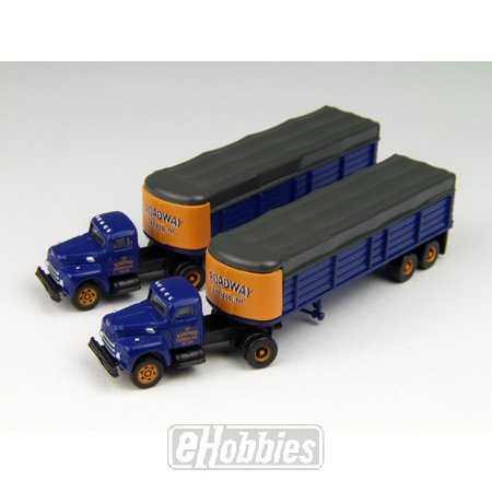 Int'l Harvestor R190 Roadway Covered WagoSemi-Tractor Trailer (2) N Scale Classic Metal Works ()
