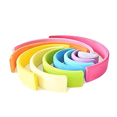 EcoWorkshop Wooden Rainbow Stacker Pastel Stacking Nesting Toys Montessori Stacking Toys Rainbow Wooden Toys for Toddlers Baby Rainbow Stacker 10 Pcs Pieces Large (Pastel 10 Pcs): Toys & Games