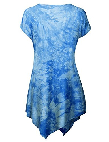 Ninimour Camiseta Casual de Falda Irregular de Manga Corta para Mujer Azul