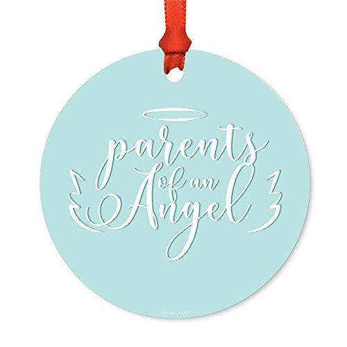 Andaz Press Infant Baby Memorial Round Metal Christmas Ornament, Parents of an Angel, 1-Pack, Includes Ribbon and Gift Bag, Miscarriage Loss Sympathy Gift