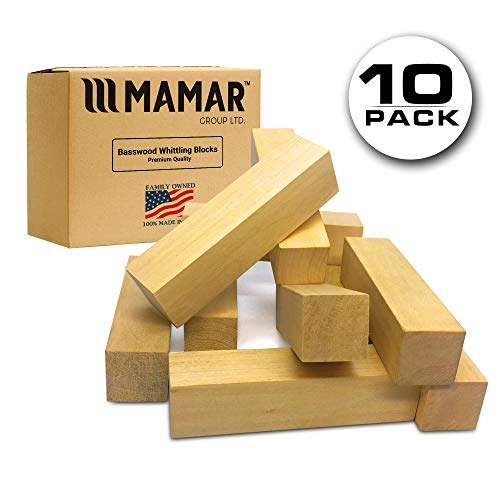Balsa Block (MAMAR Natural Basswood Carving Blocks - 10 Large Pieces Unfinished Polished - Premium Whittling Balsa Wood Block Tools Kit - 1 x 1 x 4 inches - Ideal for Beginners, Kids, Advanced, Hobby, DIY)