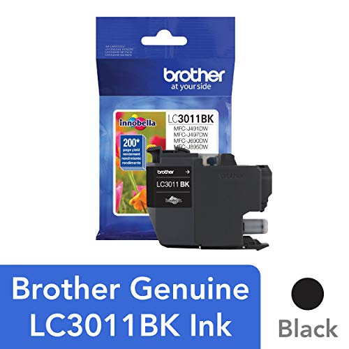 Brother Printer LC3011BK Singe Pack Standard Cartridge Yield Up to 200 Pages LC3011 Ink Black ()