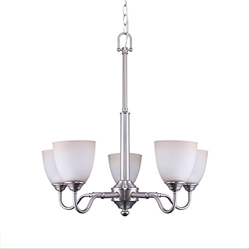 7Pandas 00533533, 5-Light Chandelier, Indoor Pendant Lighting Fixture with Frosted Glass Shade, Satin Nickel, UL Listed