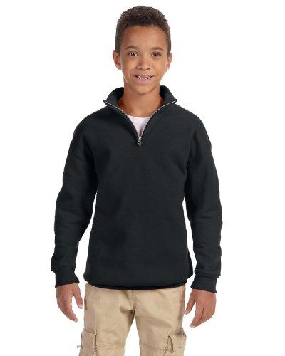 Youth Quarter Zip Pullover - Jerzees Youth 8 oz., 50/50 NuBlend Quarter-Zip Cadet Collar Sweatshirt (995Y)- BLACK,M