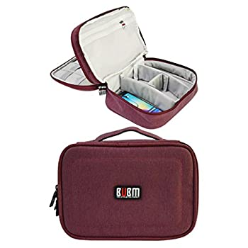BUBM Waterproof Double Layers Travel Gadget Organizer Bag, Electronics Accessories Bag (Rose Red)