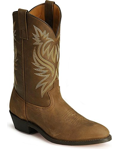 Laredo Mens Tan Leather London 12in Distressed R Toe Cowboy Boots 9 - Laredo Outlet