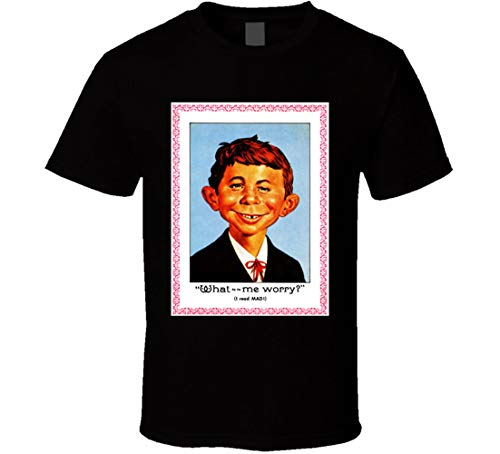 Alfred E Neuman Mad Magazine What Me Worry Portrait Comic Funny T Shirt Black