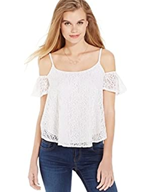 Jessica Simpson Short-Sleeve Scoop-Neck Lace Cutout Top