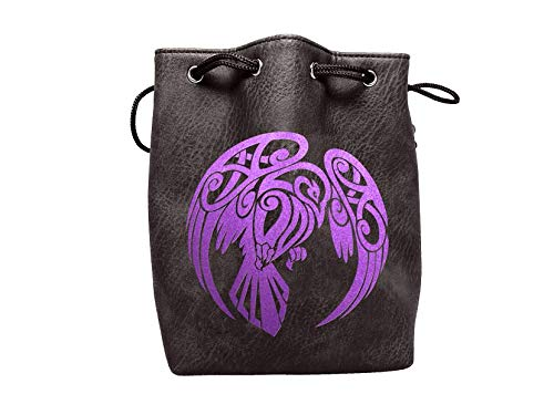 Black Leather Lite Large Dice Bag Raven Design - Black Faux Leather Exterior Lined Interior - Stands up on its Own Holds 400 16mm Polyhedral Dice   B07GD6LTQ1