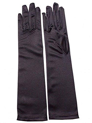 (Miranda's Bridal Women's Wedding Formal Satin Gloves Costume Glove Black)