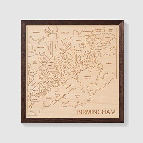 (Etched Atlas Birmingham Area, Alabama - Wall Map (Framed))