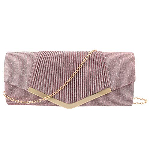 Wrinkle Dazzling Womens Purse Pink Bag Evening Naimo Rhinestone Shiny Flap 973 Clutch IwExHqgHZ