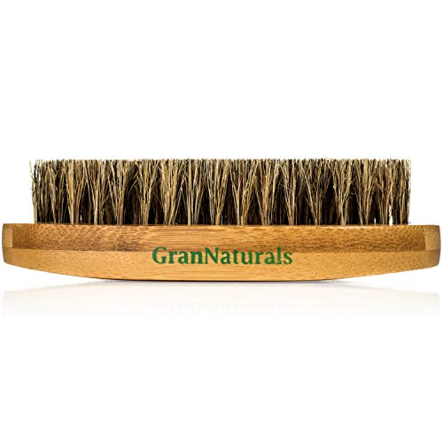 (GranNaturals Boar Bristle Hair + Beard Brush for Men -