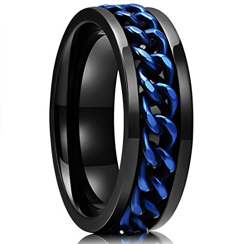 King Will Stainless Steel 8mm Rings for Men Center Chain Spinner Ring, Size 7 Chain 15 Mm Rings