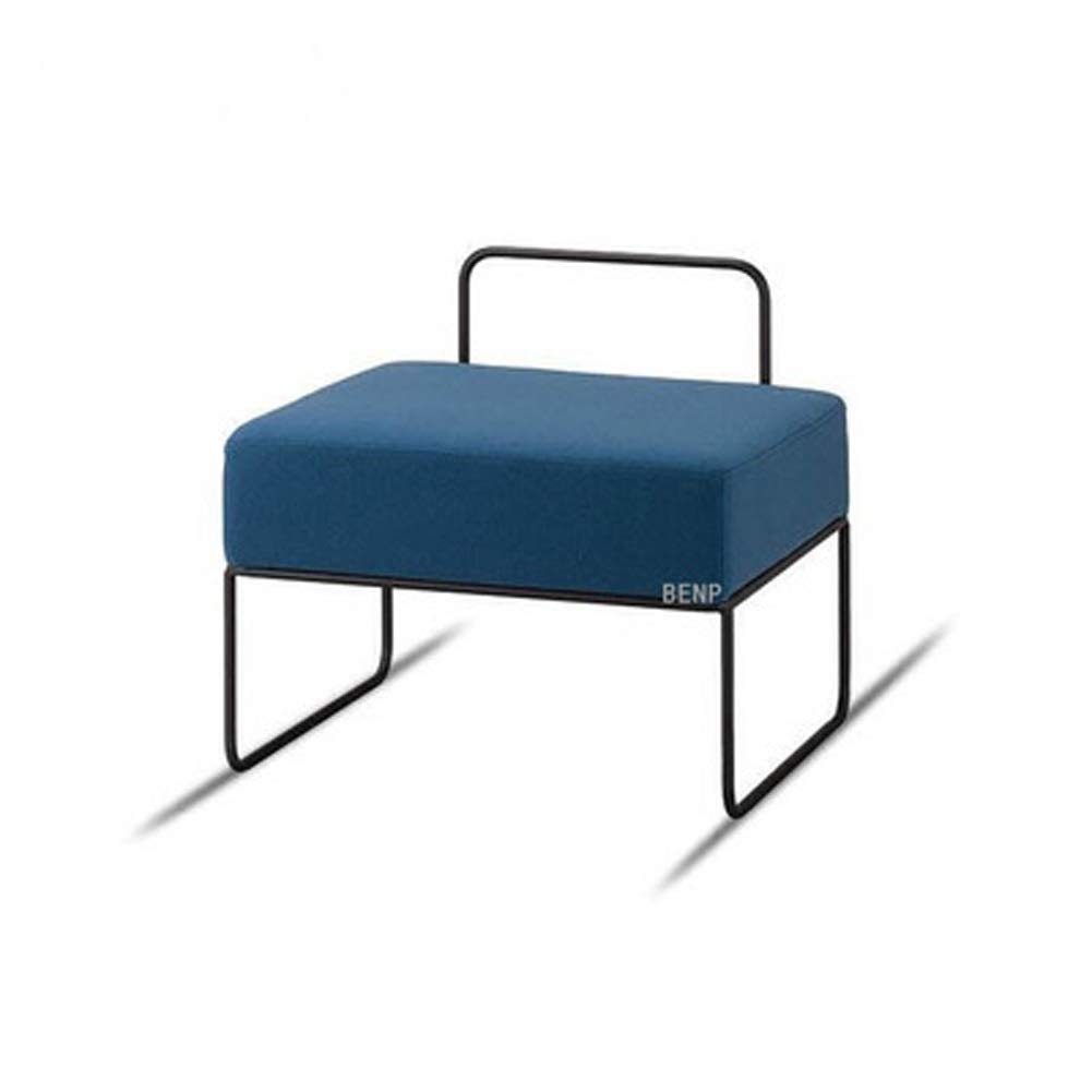 B AINIYF Nordic Vanity Stools Wrought Iron Fabric Finish Square Footstool Simple Modern Living Room Sofa Stool shoes Bench (color   bluee) 15.7x15.7inches (Size   A)