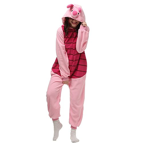 Piglet Onesie for Adult. Fleece Animal Pajama Costume for Women, Men and Teenagers(Small, Piglet) -