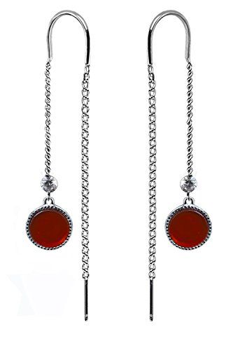 Long Chain Gold Plated 925 Sterling Silver Fashion Earrings for Women by Politeny (Red, NA)
