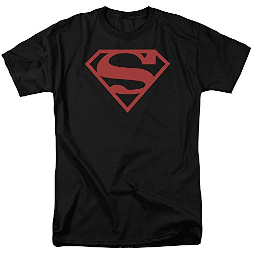justice+league Products : Superman Logo Red on Black Shield DC Comics Justice League Adult Mens T-shirt Graphic Tee Apparel