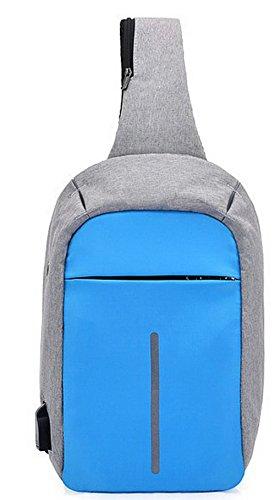 Hombro Azul VogueZone009 CCAYBP181053 de Dacron Bolsos Bolsas Cruzados Cremalleras Mujeres RAq7BxT