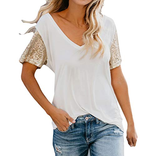 (Women's Summer Vest,Cinsanong Sales! Ladies Short Sleeve V-Neck Casual Blouse Lightweight Stand Out Sequin Sleeve Tops White)