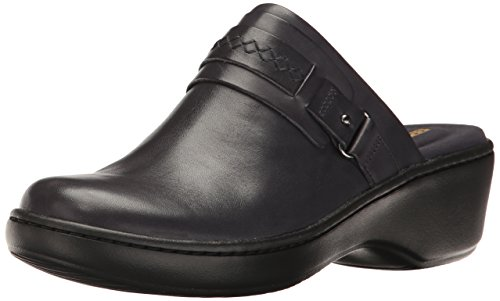 Clarks Women's Delana Amber Mule, Navy Leather, 8.5 W (Blue Womens Clogs)