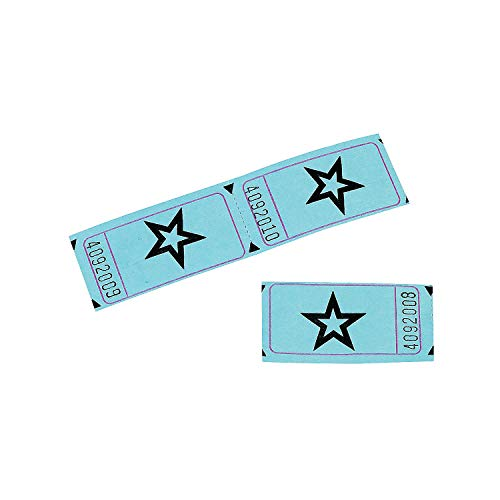 Blue Single Roll Raffle Tickets W/Star, 2000 Tickets