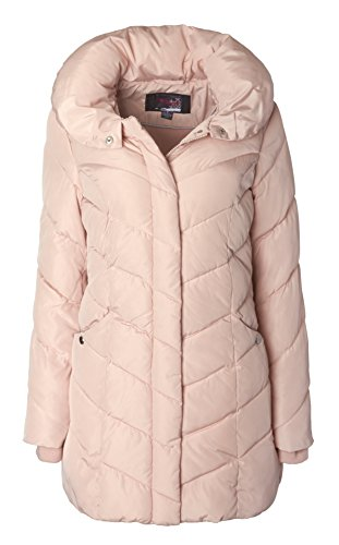 Pink Down Coat (Sportoli Womens Packable Winter Chevron Quilted Fleece Lined Puffer Coat with Hood - Blush (Size X-Large))