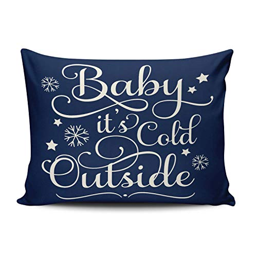 XIAFA Home Custom Pillowcase Baby It's Cold Outside Holiday Navy Blue and White Simple Decorations Sofa Throw Pillow Case Cushion Cover One Sided Printed Design Standard 20X26 Inch (Set of 1) (Sale White Peacock Chair For)