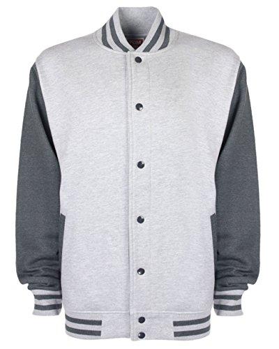 Fdm Mens Varsity Jacket Medium Heather Grey/Charcoal at Amazon Mens Clothing store:
