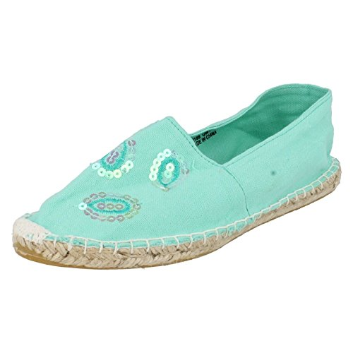 Spot On Flat Espadrille Rope Sole Sequins Green